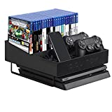 JackCubeDesign PlayStation 4 Slim Organizer Multi-Functional Stand Wireless Joystick Controller Title Case DVD Storage Case Box Smartphone Holder(Carbon Fiber Black, 11.5 x 12 x 5.6 inches) – :MK366A