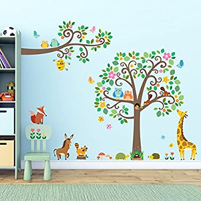 Decowall,DM-1502P1512,Large Scroll Tree and Animals & Scroll Branches and Animals peel & stick Nursery wall decals stickers