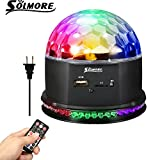 Disco Lights LED Stage Lights - SOLMORE Sound Activated RGB DJ Lights Party light Crystal Magic Rotating Ball Lights with Remote Control MP3 Play for Xmas Home Wedding KTV Club Pub Show