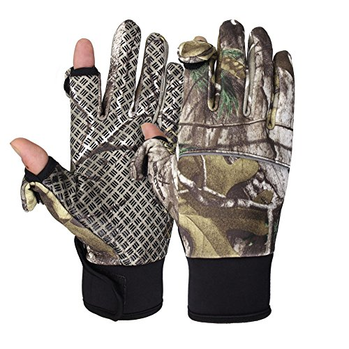 WATERFLY Fishing Gloves, Camouflage Anti-Slip Sports Gloves with Fleece Lining Velcro Finger...
