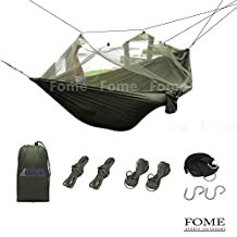 FOME SPORTS|OUTDOORS Portable Parachute Fabric Hammock Hanging Bed With Mosquio Net + Extra Long Hammock Tree Hanging Adjustable Straps One Year Warranty