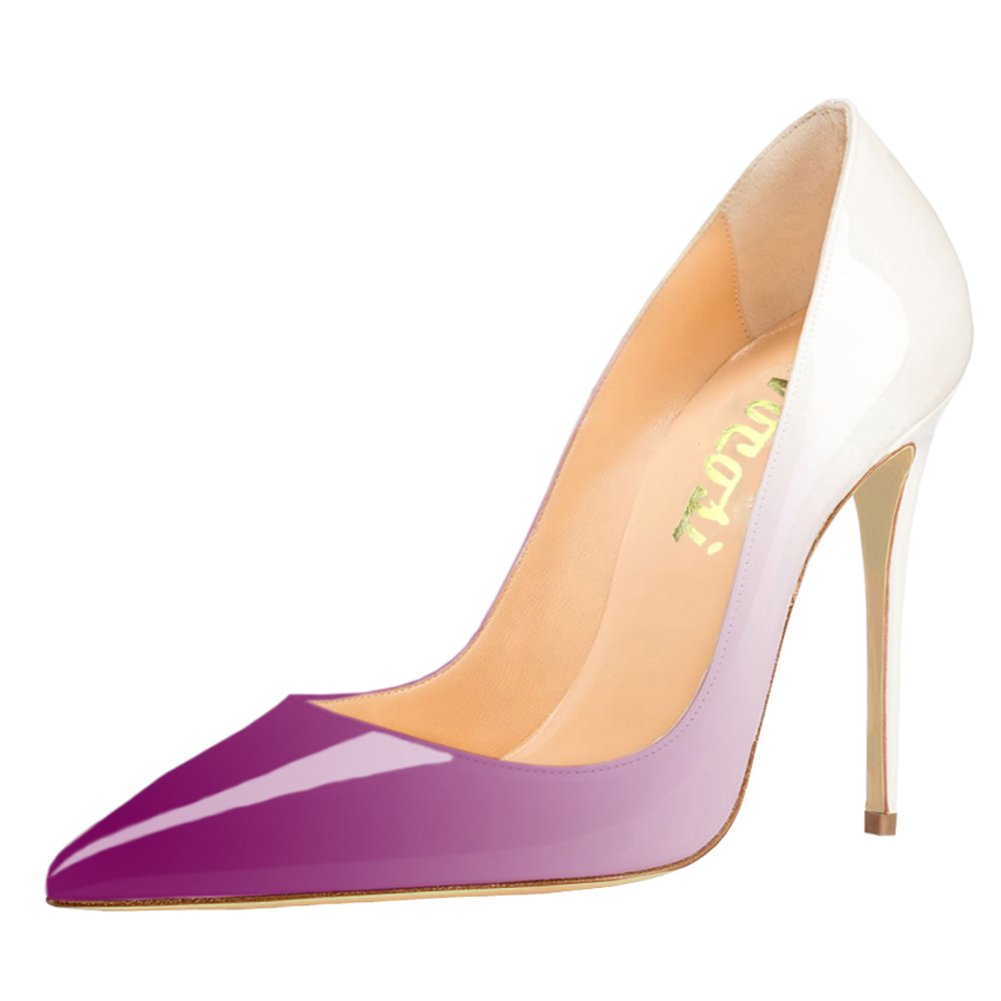 VOCOSI Pointy Toe Pumps for Women,Patent Gradient Animal Print High Heels Usual Dress Shoes B07C5N3WBL 14 B(M) US|Gradient White to Purple With 10cm Heel Height
