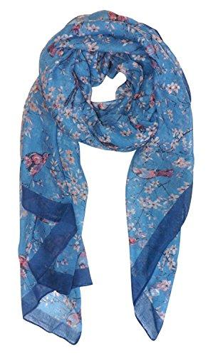 Peach Couture Pretty Vintage Floral Blossom Hummingbird Print Light Sheer Scarf Blue