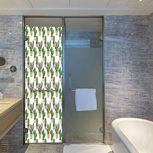By Rug Ivory 05 (YOLIYANA Stained Glass Window Film,Cactus,for Bathroom Shower Door Heat Cotrol Anti UV,Vases and Pots with Flowers Cute Cartoon Drawing,24''x78'')