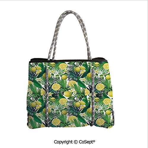 Neoprene Beach Bag,Tropical Plants with Large Evergreen Leaf Lemon Botany Palm Jungle Graphic,for Beach,Picnic(14.9