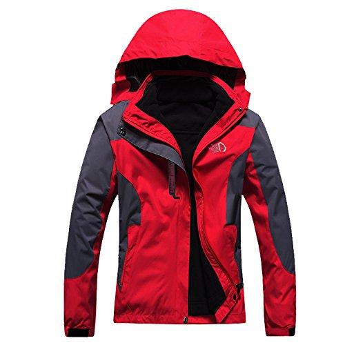 arrampicata arrampicata Vello ski Woman Red di calda calda Uomini giacca esterna di rimovibile rivestimento impermeabile amp;S 3in1 top MEI U6BAFA