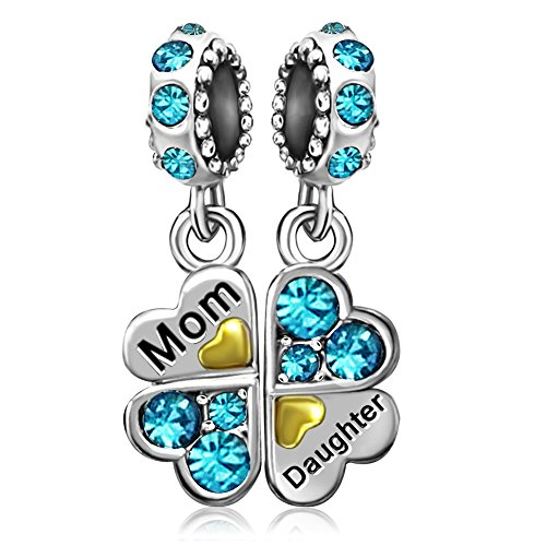 JMQJewelry Heart Love Mom Clover Daughter March Crystal Charms Beads for Bracelets