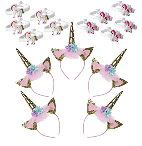 5 Pack Unicorn Party Supplies Gold Unicorn Horn Headbands Animal Baby Photo Props with Glitter Ears 10 Unicorn Bracelet Girls Theme Birthday Party Games Gift Christmas Halloween Party Favors Costume -