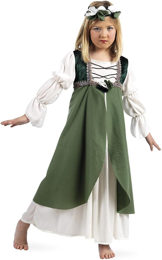 Limit Mittelalter Brautjungfer Kostüm Mädchen Kleid und Haarschmuck zum Karneval grün