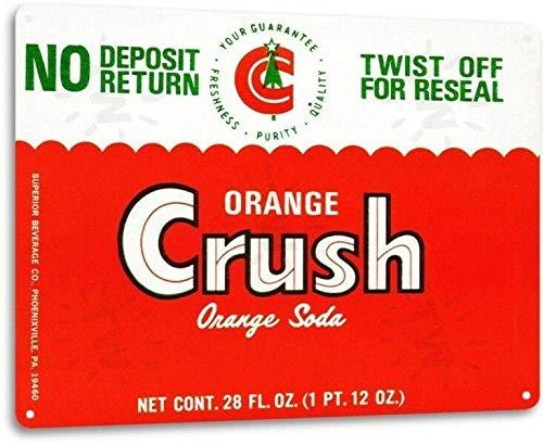 SRongmao Orange Crush Cola Soda Pop Advertising Vintage Look Retro Wall Decor Metal Tin Sign 8x12in