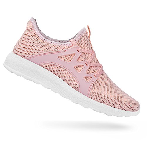 QANSI Womens Fashion Sneakers Casual Athletic Tennis Knit Running Shoes Pink 5.5