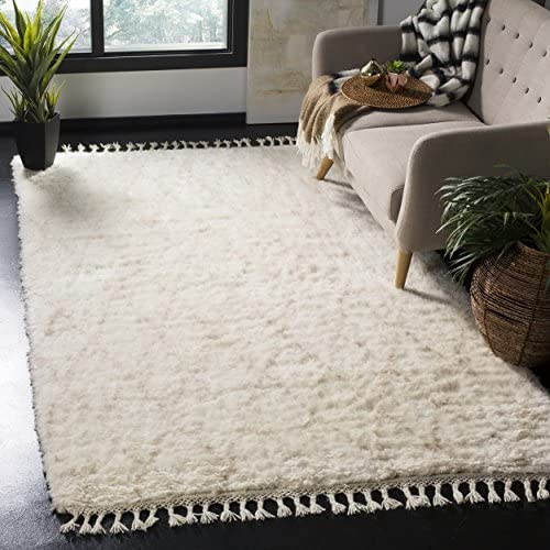 Safavieh Casablanca Shag Collection CSB145B Handmade Wool Area Rug, 8 x 10 , Ivory Beige