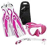 SEAC Frameless Scuba Mask Fin Snorkel Set, Pink, Small/Medium