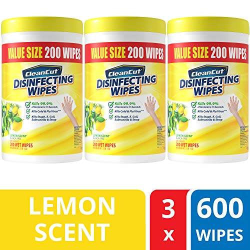 Disinfecting Wipes by Clean Cut, Lemon Scent Value Size 3 Pack, 600 Total Wipes - Antibacterial - Sanitizing - Cleaning