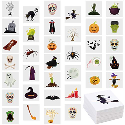 Bulk Halloween Temporary Tattoos (Aneco 144 Pieces Assorted Halloween Temporary Tattoos Waterproof Halloween Theme Tattoos for Trick or Treat Bags Filler Halloween Party Favors, 36)