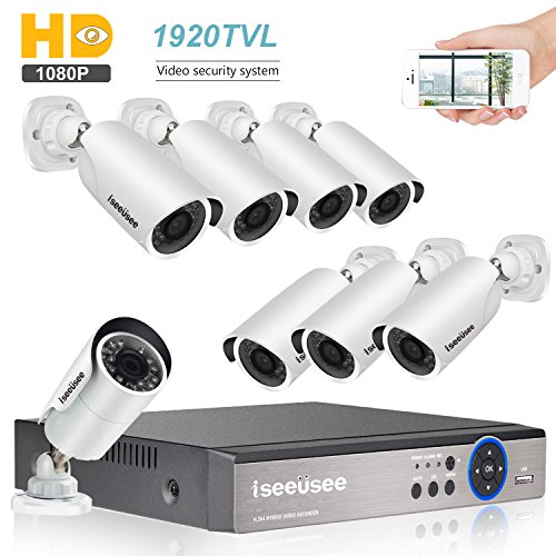ISEEUSEE Weatherproof 8 Channel HD DVR Video Recording System HDMI Output 8 x 1500TVL Outdoor Night Vision 1080P Bullet Cameras Free APP CCTV Home Security Surveillance Kits HDD Not Included
