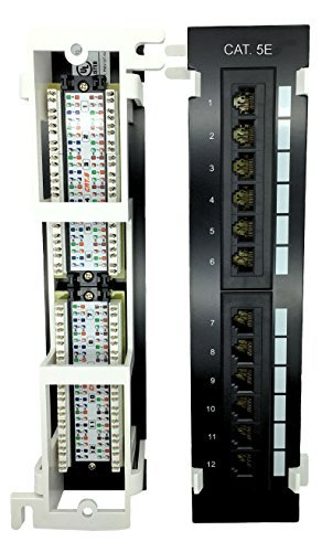 Panel Port 12 Patch Cat5e (Cables Guru [UL Listed] Cat5e RJ45 Mini 12 Port Vertical Patch Panel with Mounting Bracket)