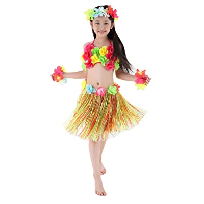 Fighting to Achieve Hawaiian Hula Dance Costume 5pcs for Girls: Clothing