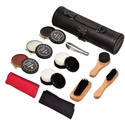 Kit Shoe Care Kits - Travel Shoe Shine Brush Kit Shoe Care Kit with PU Leather Sleek Elegant Case Black 12-Piece