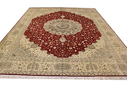 Camel Carpet 9'x12′ Large Hand Knotted Wool Oriental Qum Rug with Fringes Luxury Handmade Wool &Silk Carpet Home Decor…