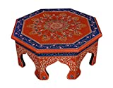 Lalhaveli Ethnic Hand Painted Work Design Decorative Round Pooja Chowki Bajot 14 X 14 X 6 Inches For Sale