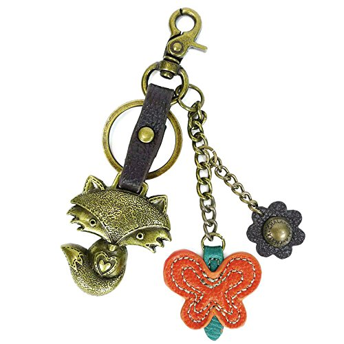 Chala Bronze Color Metal- Purse Charm, Key Fob, keychain decorative accessories (Fox)