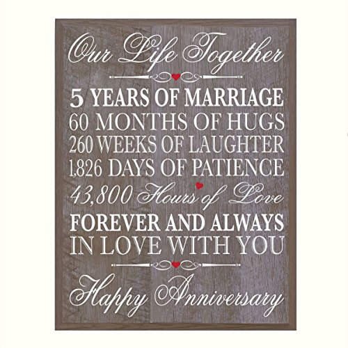 LifeSong Milestones 5th Wedding Anniversary Wall Plaque Gifts for Couple, 5th Anniversary Gifts for Her,5th Wedding Anniversary Gifts for Him 12 W X 15″ H Wall Plaque By (Barnwood)