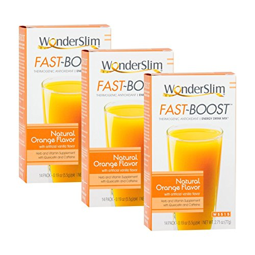 FAST BOOST Thermogenic Energy Boosting Powder Drink Mix by WonderSlim - Antioxidant Drink Mix - With Green Tea, Ginseng, Quercetin and Gingko Biloba – Natural Orange Flavor - 3 Boxes (Save 10%)