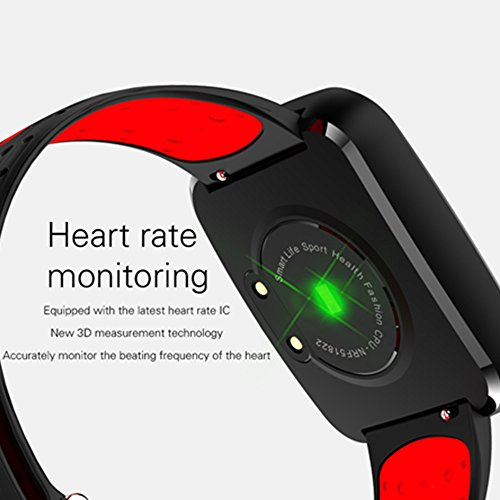 Fitness Tracker with Heart Rate Monitor,Smart Bracelet Blood Oxygen Pressure Monitor Sport Watch for IOS Android Smartphones(Red) by KingTo (Image #5)