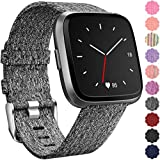 Maledan Replacement for Fitbit Versa Bands Women Men Large Small, Woven Fabric Accessories Strap Wrist Band Compatible with Fitbit Versa Smart Watch