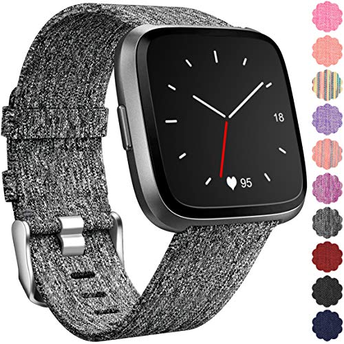 Maledan Replacement for Fitbit Versa Bands, Canvas Strap with Stainless Steel Clasp Accessories Replacement Wristbands for Versa, Women Men, Large, Charcoal