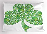 Lunarable Celtic Pillow Sham, Irish Shamrock Figure Made with Small Clover Patterns Holy Trinity Symbol Graphic, Decorative Standard King Size Printed Pillowcase, 36 X 20 Inches, Green White