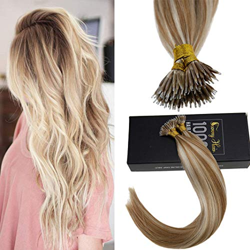 Sunny 18inch Nano Ring Hair Extensions with Nano Ring Beads Color Caramel Blonde Highlight Bleach Blonde Remy Hair Extensions Nano Tip Hair Extensions Human Hair 1G/1S 50G (Images Of Light Brown Hair With Caramel Highlights)