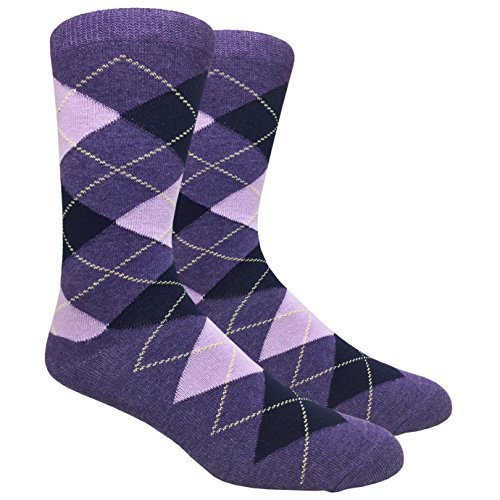 (Urban Peacock Black Label Men's Argyle Dress Socks (Multiple Patterns to Select From) (Argyle - Purples with Navy & Yellow, 1 Pair))
