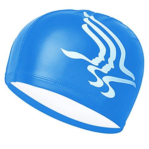 CC-Show Swim Cap, Unisex Adult Size Lycra Waterproof Swimming Cap with PU Coat, Fit Long Hair, ()