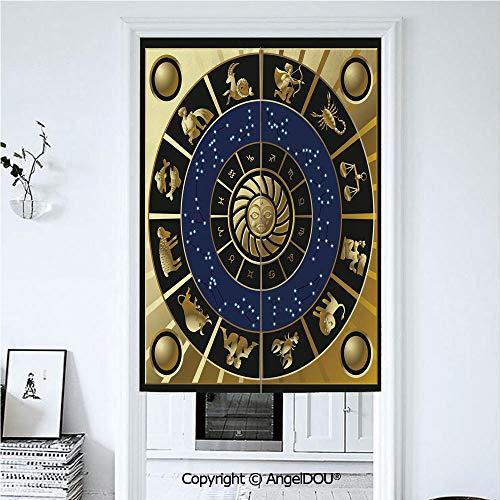 AngelDOU Astrology Printed Good Fashion Fun Door Curtains Plaquet Seem Square Shape -