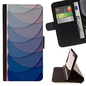 For Samsung Galaxy J1 J100 Case , Azul Rosa Líneas Escalas Waves Abstract- la tarjeta de Crédito Slots PU Funda de cuero Monedero caso cubierta de piel