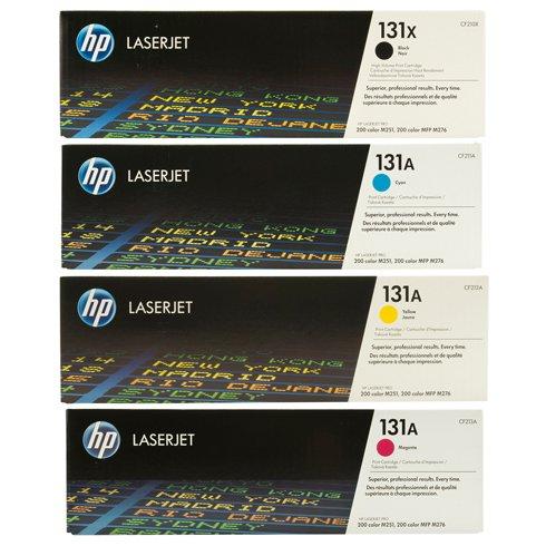 Genuine HP 131X CF210X, CF211A, CF212A, CF213A High Yield Toner Set BCYM LJ PRO 200 C, LJ PRO 200, PRO 200M276, Sealed In Retail Packaging., Office Central