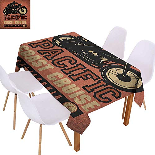 Washable Tablecloth Adventure,Pacific Coast Cruise California Motorcycle Driving Journey Traveling Hand Drawn,Ruby Black,for Kitchen Dinning Tabletop Decoratio -
