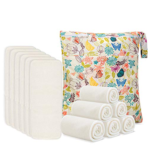 Damero 5-Layer Bamboo Reusable Diapers Baby Inserts, 12PCS Cloth Diaper Inserts with an Extra Storage Bag
