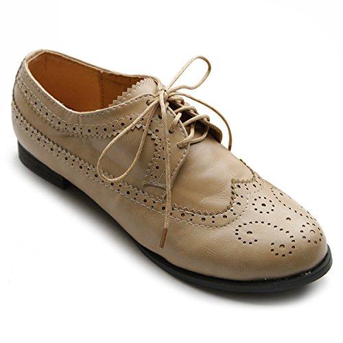 Ollio Women's Shoe Lace Up Low Heels Wingtip Dress Oxford