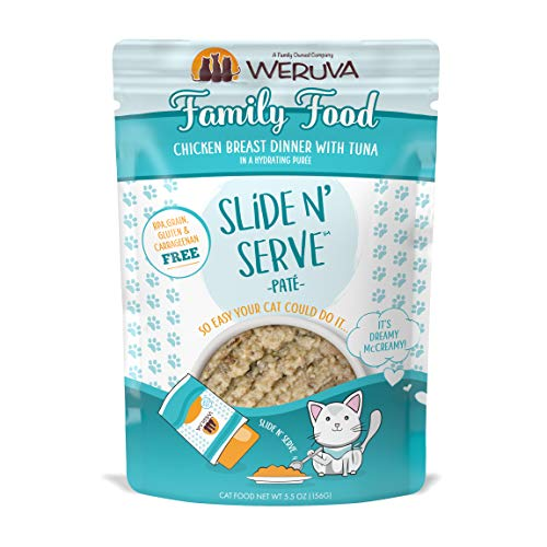 Weruva Slide N' Serve Paté Wet Cat Food, Family Food Chicken Breast Dinner With Tuna, 5.5Oz Pouch (Pack Of 12) (Dinners Cheap Family)