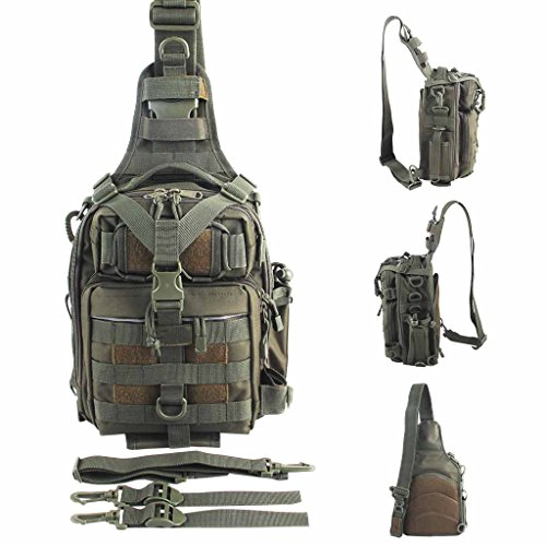 BLISSWILL Outdoor Tackle Bag Multifunctional Water-Resistant Fishing Bag Single Shoulder Bag Crossbody Fishing Backpack Fishing Gear Storage Bag Hunting Backpack (Army Green)