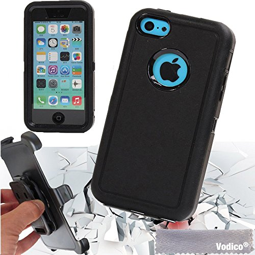 Vodico iphone 5C with belt clip Heavy Duty Full Body Protective Case Shockproof Dustproof Defender Case Cover w/ Built-in Screen Protector -Black