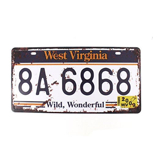6x12 Inches Vintage Feel Metal Tin Sign Plaque for Home Decor (WEST VIRGINIA 8A-6868) (West Virginia Metal)