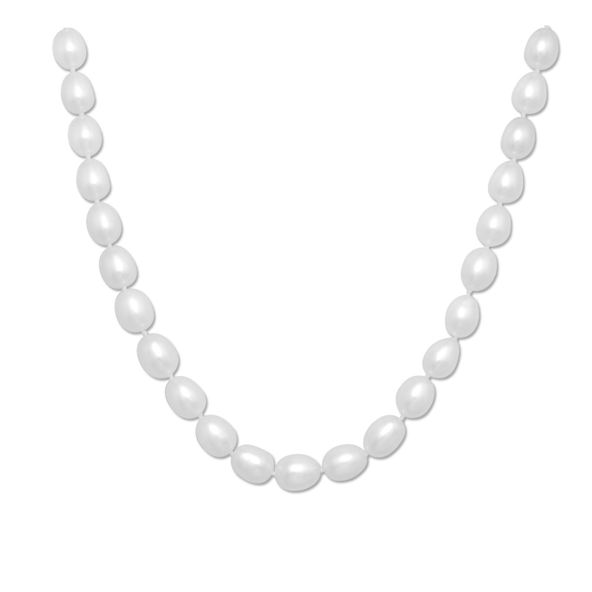 Rice Freshwater Cultured Pearl Necklace with Rose Sterling Silver Clasp(8.5-9mm),16''