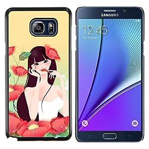 YiPhone /// Prima de resorte delgada de la cubierta del caso de Shell Armor - Chica Flores Maquillaje Labios Rojos Naturaleza Sexy - Samsung Galaxy Note 5 5th N9200