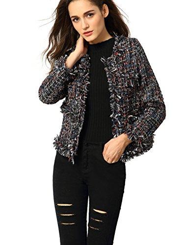 Verdusa Women's Elegant Long Sleeve Open Tweeds Fringe Jacket Coat Blazer Multicolor M