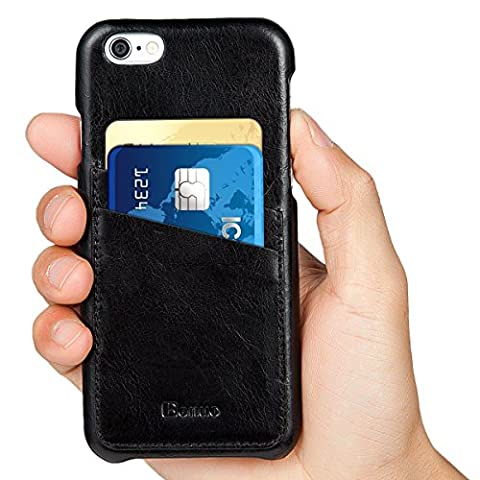 iPhone 6s / 6 Case, Benuo [Card Slot Vintage Series] [Genuine Leather] Soft Leather Case [2 Card Slots], Ultra Slim Leather Case Back Cover [Business Style] for iPhone 6 / 6s 4.7 inch (Stylish (Snap On Cell Phone Cases)