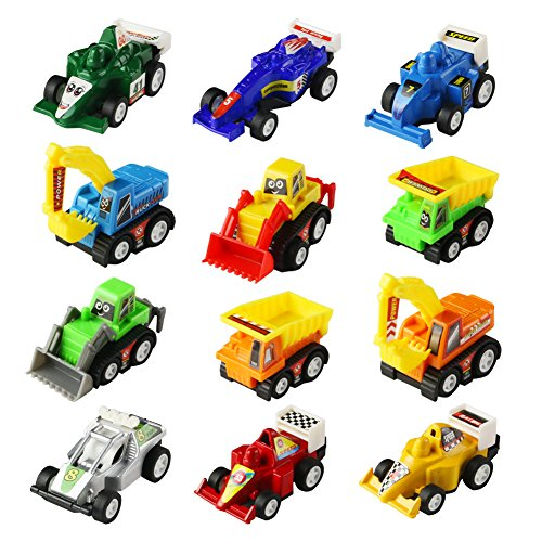Mini Toy Cars Pull Back Vehicles 12 Pack Assorted Trucks and Raced Car Toy Play Set with Dump Trucks Diggers Bullozers Racing Cars Karting Construction Party Favors for Kids Boys 12 pieces(Color Vary) (Car Toys For Kids)